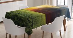 Gün Batımı Manzaralı Masa Örtüsü Yeşil Doğa Turuncu