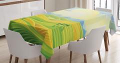 Çocuklar için Masa Örtüsü Gün Doğumu Sarı Yeşil Mavi