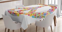 Çiçek Desenli Masa Örtüsü Rengarenk Barış