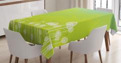 Çiçek Desenli Masa Örtüsü Yeşil Şık Tasarım