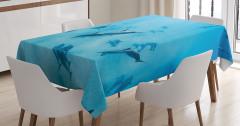 Sualtı Yaşam Temalı Masa Örtüsü Köpek Balıkları Mavi