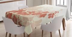 Tropik Çiçek Desenli Masa Örtüsü Bej Turuncu Beyaz