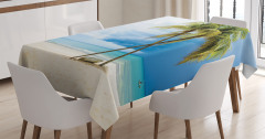 Tropik Ada Desenli Masa Örtüsü Kumsal Mavi Yeşil