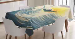 Sörf Temalı Masa Örtüsü Tropikal Adada Gün Batımı
