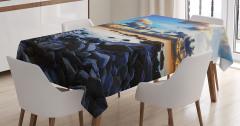 Deniz Kıyısı Manzaralı Masa Örtüsü Dolunay Mavi