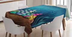 Sualtı Yaşam Temalı Masa Örtüsü Deniz Kabuğu Mavi