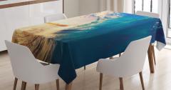 Okyanus Dalgaları Temalı Masa Örtüsü Gün Doğumu Sörf