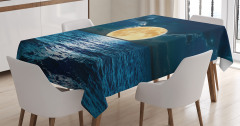 Dolunayda Deniz Manzaralı Masa Örtüsü Romantik