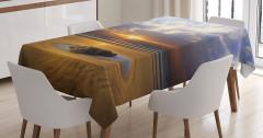 Tropik Kumsal Manzaralı Masa Örtüsü Gün Batımı Sarı