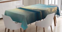 Deniz Manzaralı Masa Örtüsü Gün Batımı Sarı Mavi