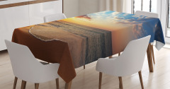 Kumsalda Gezinti Temalı Masa Örtüsü Deniz Gün Batımı