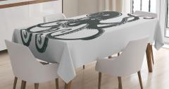 Ahtapot Desenli Masa Örtüsü Siyah Beyaz Modern Sanat