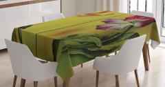 Yağlı Boya Resmi Etkili Masa Örtüsü Çiçek Desenli