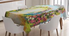 Yağlı Boya Resmi Etkili Masa Örtüsü Çiçekler Kuşlar