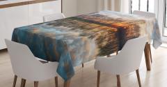 Nehirde Gün Batımı Manzaralı Masa Örtüsü Romantik