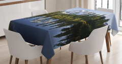 Karlı Dağ Manzaralı Masa Örtüsü Göl Orman Yeşil