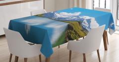 Göl Kenarı Manzaralı Masa Örtüsü Karlı Dağlar Mavi