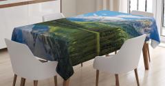 Göl Manzaralı Masa Örtüsü Ağaçlar Bulutlar Dağ Doğa