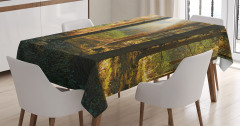 Sonbaharda Gün Batımı Temalı Masa Örtüsü Orman Yeşil