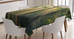 Ormanda Günün İlk Işıkları Temalı Masa Örtüsü Yeşil