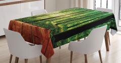 Doğayla İç İçe Temalı Masa Örtüsü Orman Güneş Yeşil