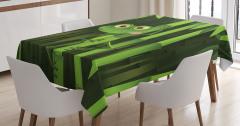 Bambu ve Kurbağa Desenli Masa Örtüsü Yeşil