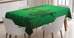 Kurbağa ve Yaprak Temalı Masa Örtüsü Yeşil