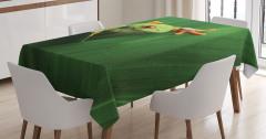 Yeşil Bitki ve Kurbağa Temalı Masa Örtüsü Doğa