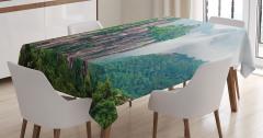 Doğa Manzaralı Masa Örtüsü Sisli Dağ Orman Yeşil