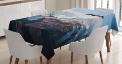 Karlı Dağ Manzaralı Masa Örtüsü Kartal Kış Beyaz