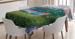 Bahar Temalı Masa Örtüsü Göl Dağ Orman Yeşil Doğa