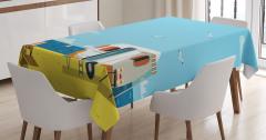 Yaz Tatili ve Karavan Desenli Masa Örtüsü Mavi