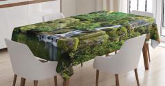 Çağlayan Manzaralı Masa Örtüsü Bahar Çiçekleri Yeşil
