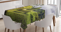 Doğada Huzur Temalı Masa Örtüsü Göl Kenarı Yeşil