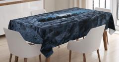 Gotik Tarz Masa Örtüsü Gece Manzaralı Mağara Mavi