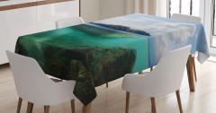 Ada Manzaralı Masa Örtüsü Deniz Mavi Yeşil Doğa