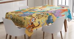 Çocuklar için Masa Örtüsü Renkli Sevimli Hayvanlar