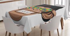 Çocuklar için Masa Örtüsü Hippi Maymun Desenli Beyaz