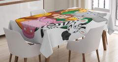 Çocuklar için Masa Örtüsü Zebra Aslan Zürafa Maymun