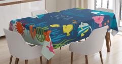 Çocuklar için Masa Örtüsü Balıklar Kaplumbağa Deniz