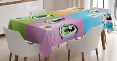 Çocuklar için Masa Örtüsü Kedi Mavi Turuncu Yeşil