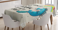Çocuklar için Masa Örtüsü Gökkuşağı Mavi Unicorn
