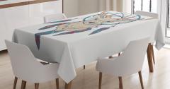 Geyik Desenli Masa Örtüsü Düş Kapanı Renkli Tüyler