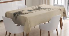 Kahverengi Masa Örtüsü Geyik figürü Modern Sanat