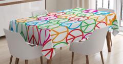 Barış Sembolü Desenli Masa Örtüsü Rengarenk
