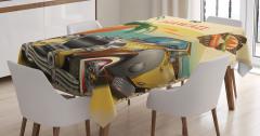 Plaj ve Sarı Araba Desenli Masa Örtüsü Retro