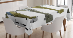 Nostaljik Masa Örtüsü Eski Savaş Uçakları Yeşil