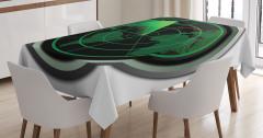 Askeri Uçak Radar Temalı Masa Örtüsü Siyah Yeşil