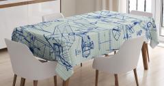 Karakalem Çizimi Etkili Masa Örtüsü Mavi Uçaklar