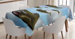 Çocuklar için Masa Örtüsü Yeşil Savaş Uçakları Bulut